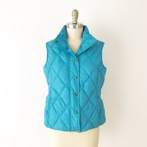 Land's End Blue Quilted Puffer Vest Winter S L1028